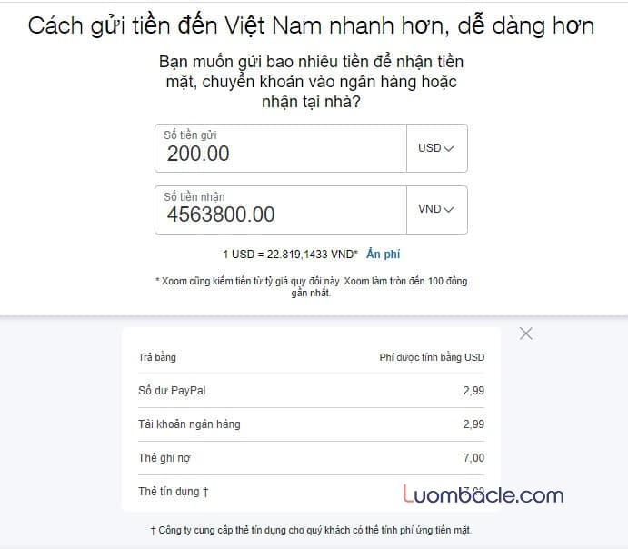 Phi chuyen tien qua Xoom ve Viet Nam
