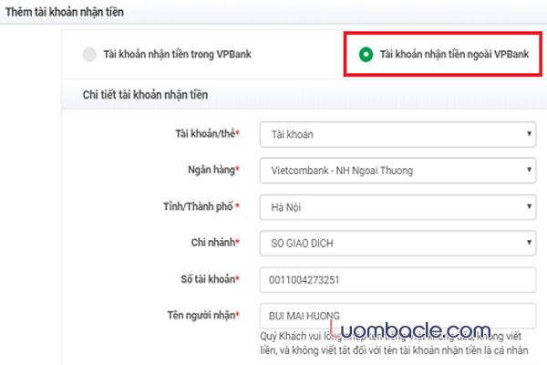 Hướng dẫn chuyển tiền trong nước của Ngân hàng VPBank