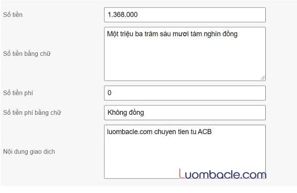 Biểu phí chuyển tiền tại ACB
