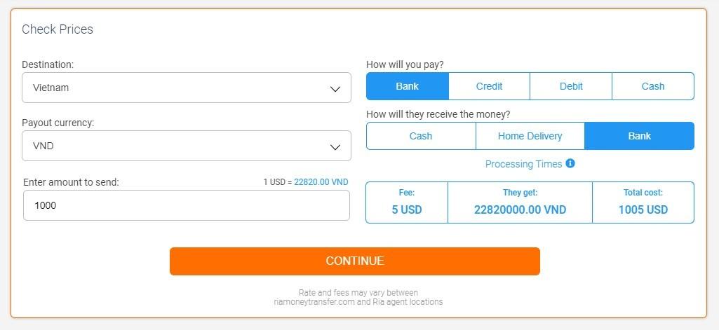 Chuyển tiền về Việt Nam qua Ria