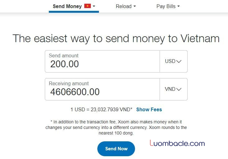 Chuyển tiền về Việt Nam đơn giản nhất qua Xoom