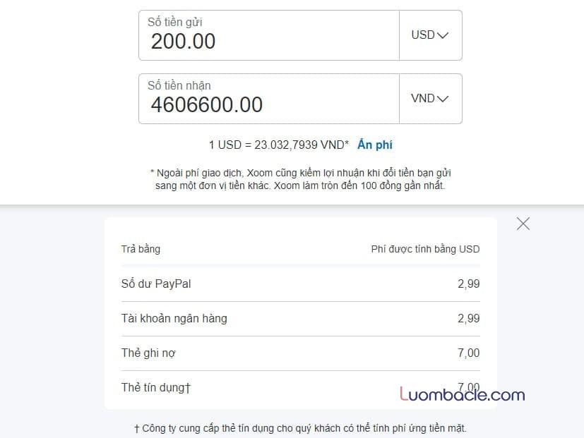 Chuyển tiền về Việt Nam qua Xoom