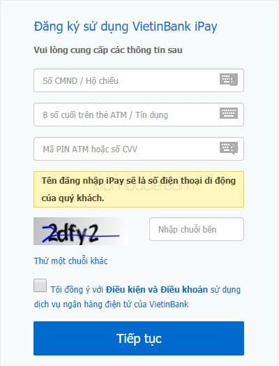Đăng ký dịch vụ iPay Mobile VietinBank trực tuyến