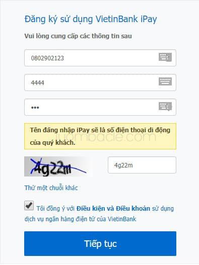 Cách đăng ký dịch vụ VietinBank iPay trực tuyến