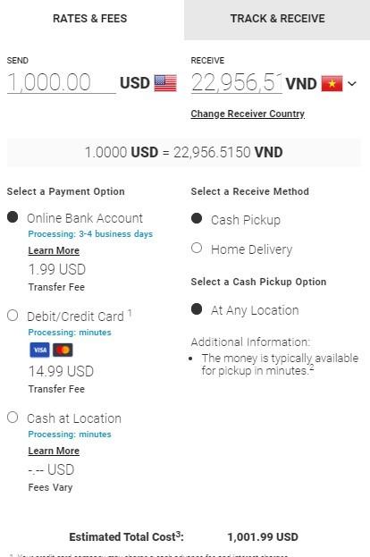 Chuyển tiền từ Mỹ về Việt Nam qua MoneyGram