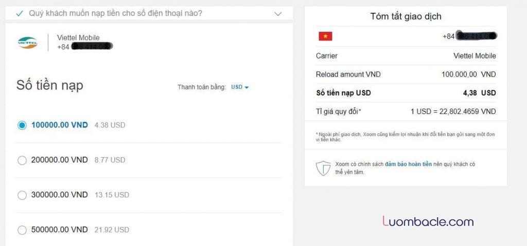 Giao diện nạp tiền điện thoại qua Xoom về Việt Nam cho người thân