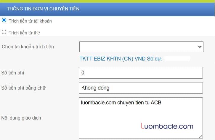 Phí chuyển tiền ACB Online Banking