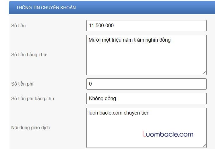 Phí chuyển tiền ngân hàng điện tử ACB Online Banking