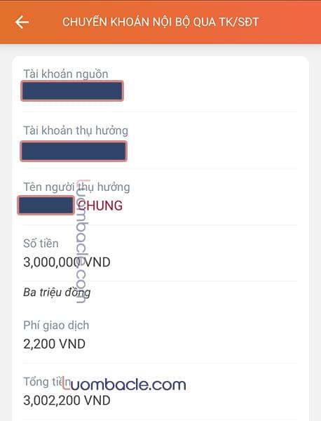 Phí chuyển tiền nội bộ qua E-Mobile Banking Agribank