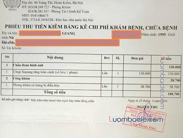 Phiếu thu tiền khám chữa tổng quát tại Bệnh viện răng hàm mặt TW Hà Nội